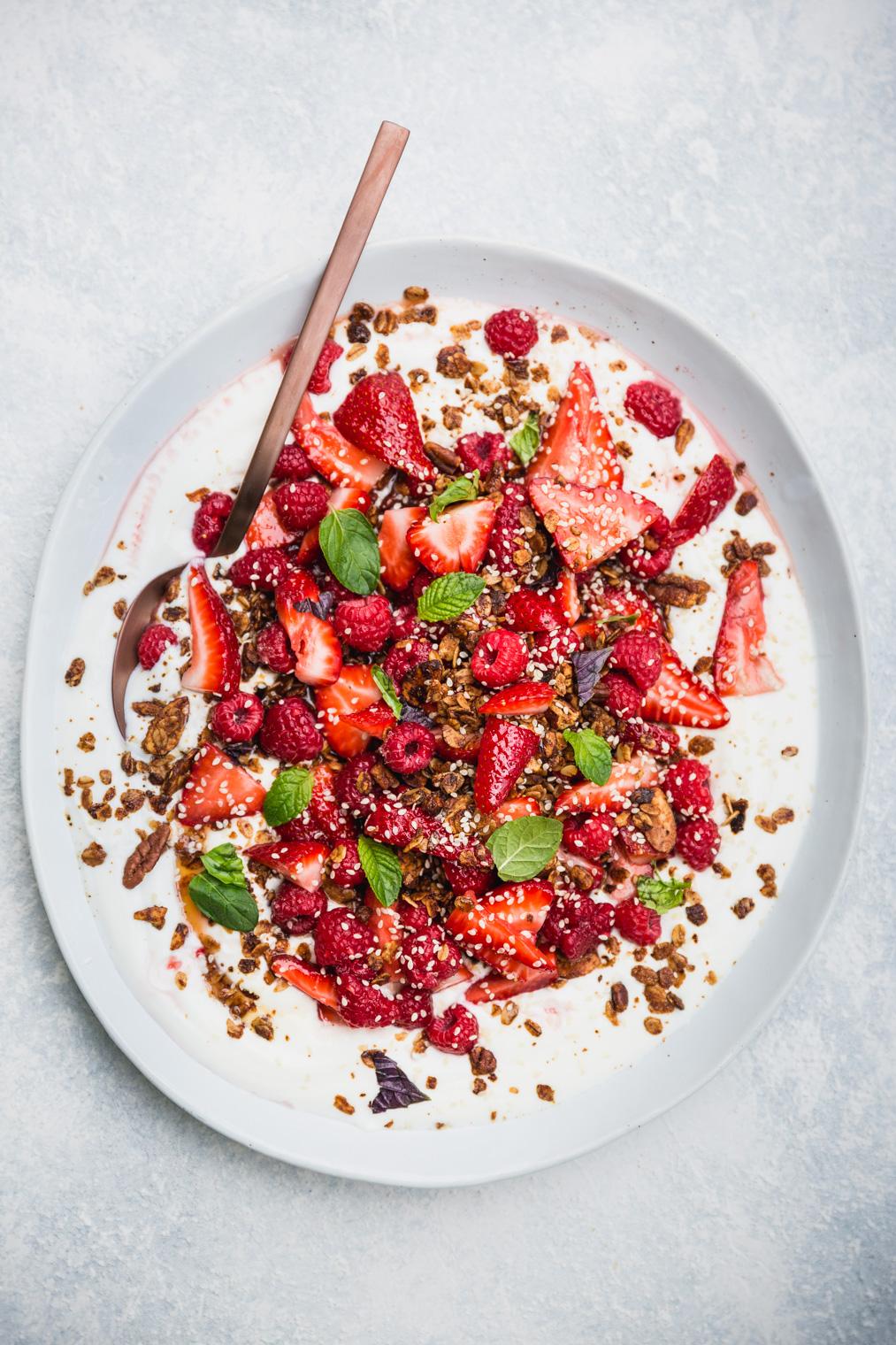 Fruit Salad with Tahini Granola and Creamy Yogurt