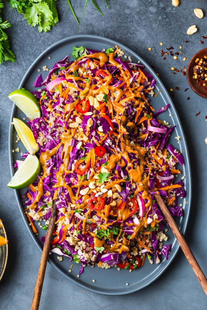 Thai Quinoa Salad with Ginger Peanut Butter Dressing