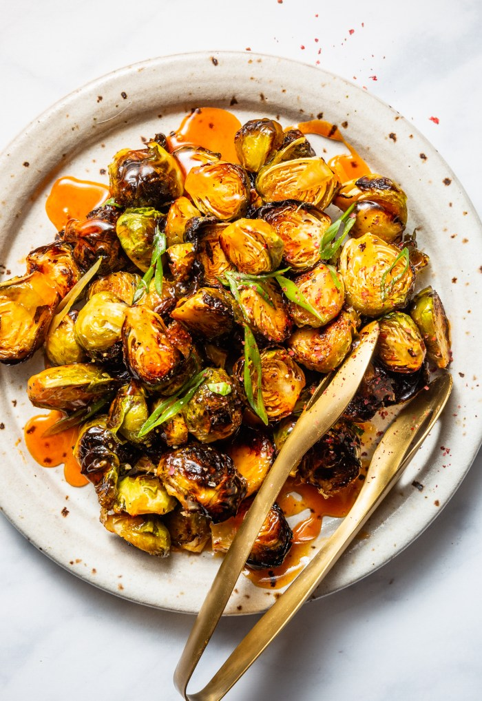 Roasted Brussels Sprouts with Spicy Sweet Buffalo Glaze