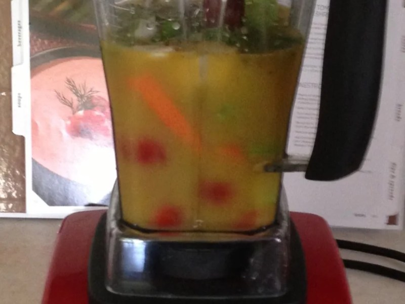 image of Vitamix blender with vegetables in it