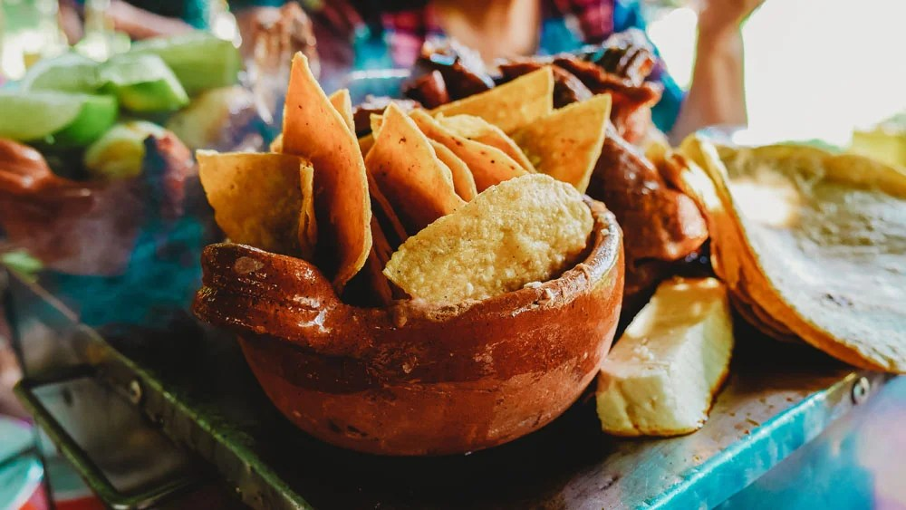 bowl of chips on a table