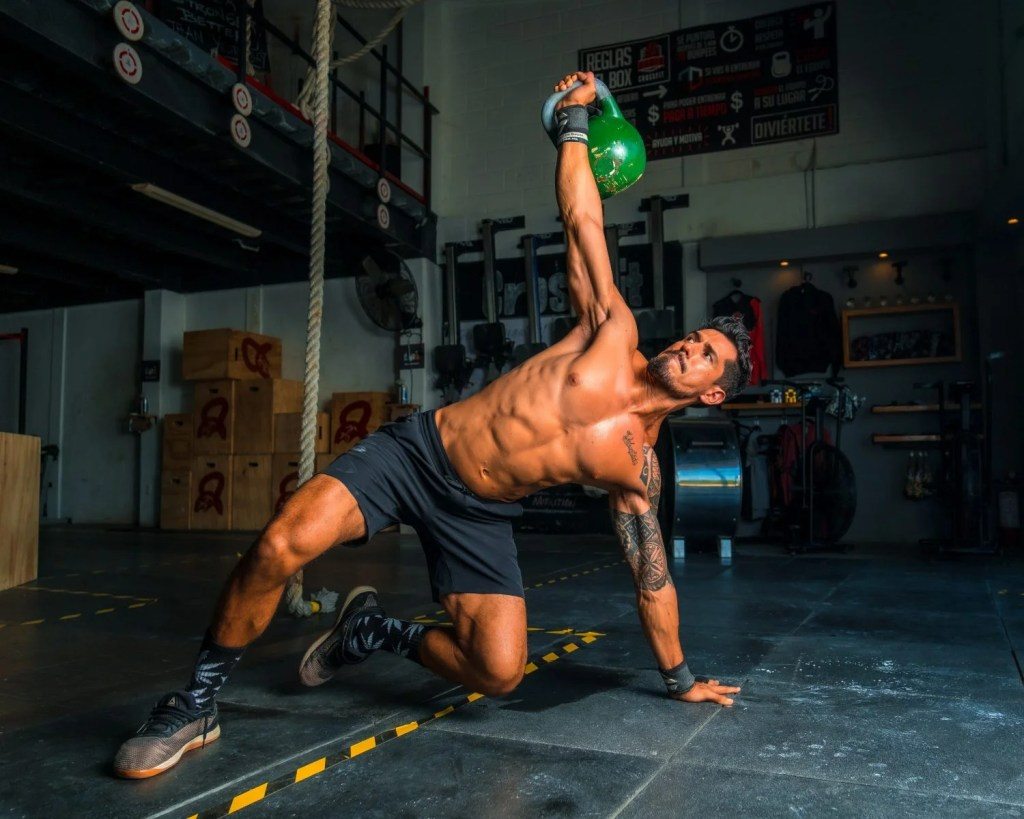 vegan athlete doing push up