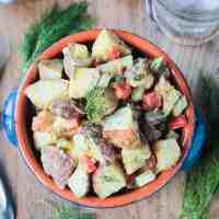 Vegan Potato Salad w/ White Bean Mustard Mayo