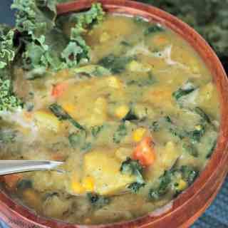 Creamy Dairy Free Potato Soup with Kale