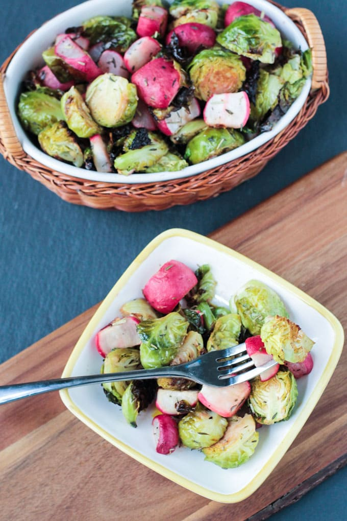 Roasted Radish and Brussels Sprouts Salad