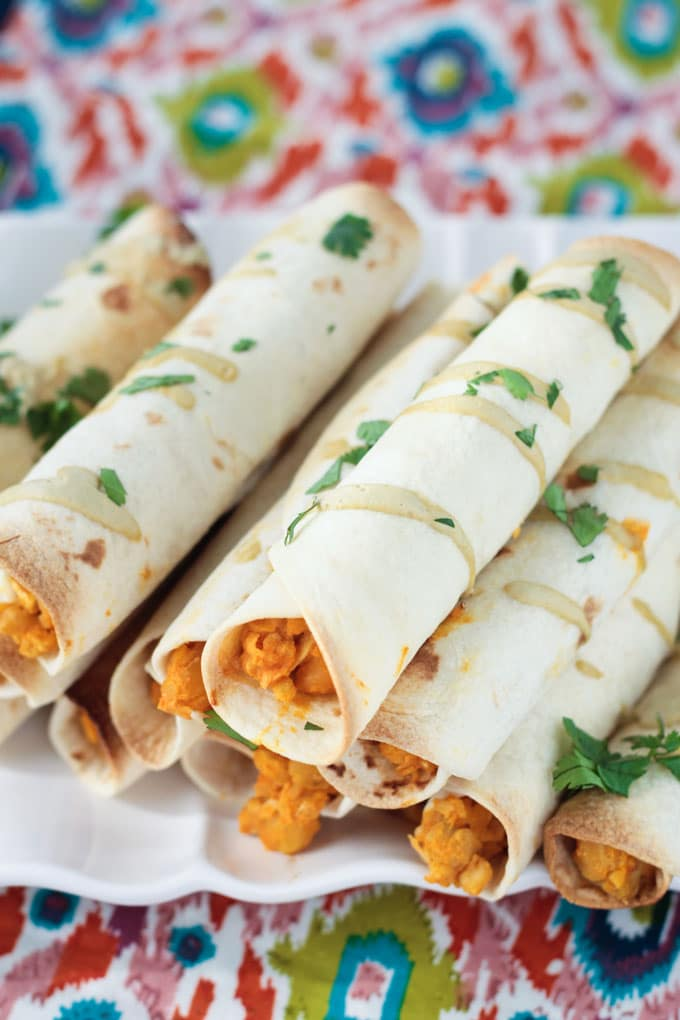 Baked Buffalo Chickpea and Artichoke Vegan Taquitos