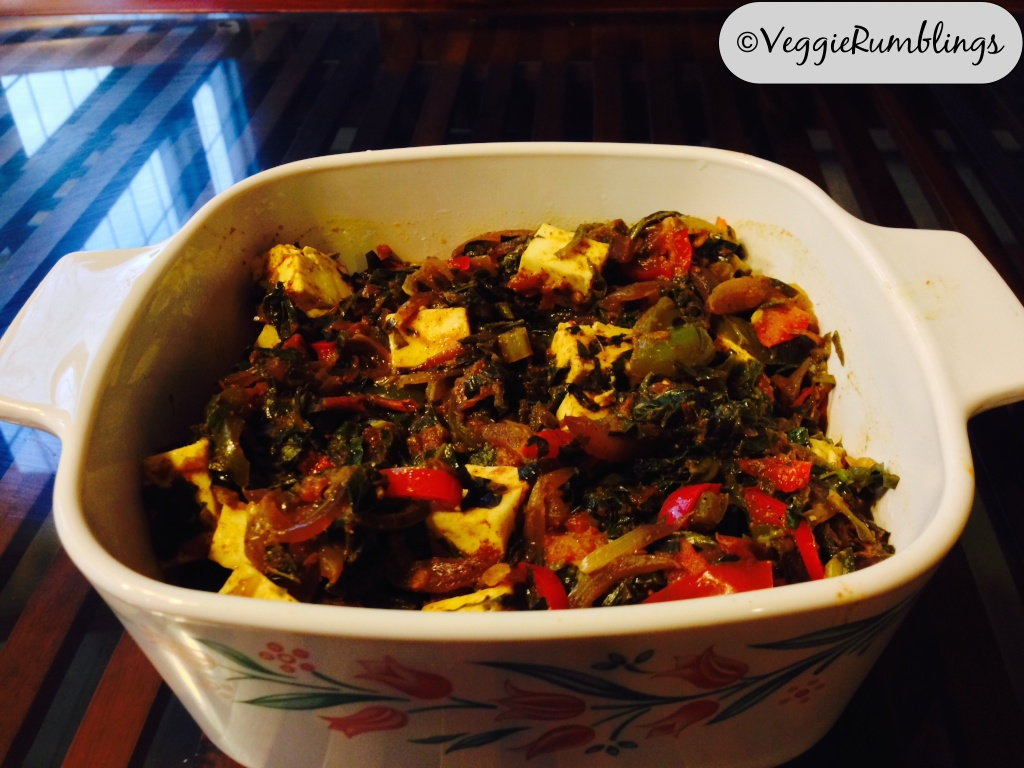 Collard Greens,Peppers and Cottage Cheese Stir Fry ( collard collage)