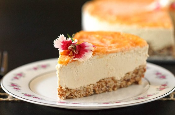 Vegan Cheesecake with Tropical Topping - This semi-raw, vegan & gluten-free cake is wonderful. It's creamy, perfectly sweet, slightly tart, luscious, smooth & satisfying