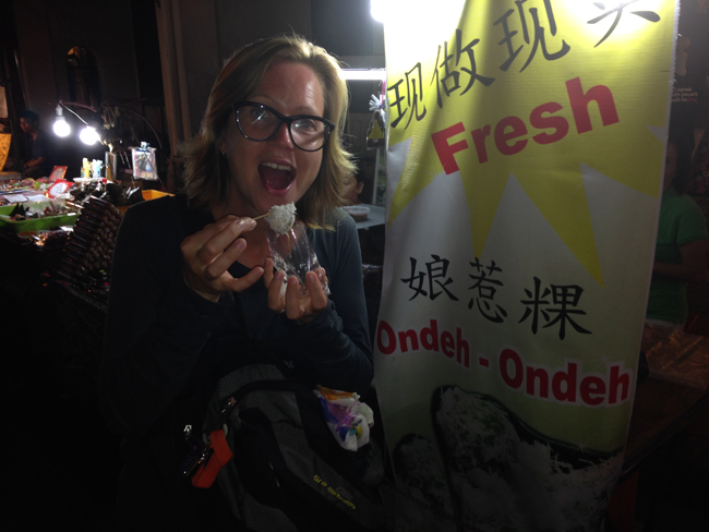 Eating Ondeh Ondeh At The Night Market