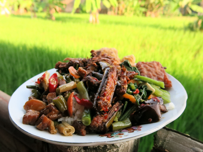 A local Javanese feast overlooking the rice fields