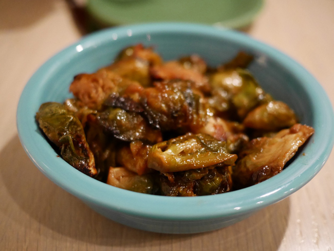 Seasonal Special-Brussels sprouts roasted in maple syrup and olive oil