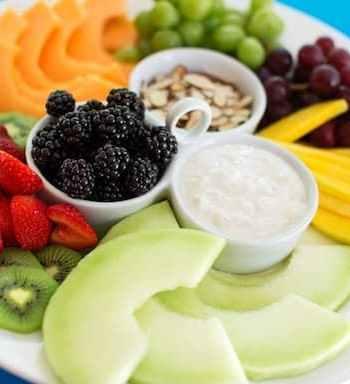 fruit platter with tropical yogurt
