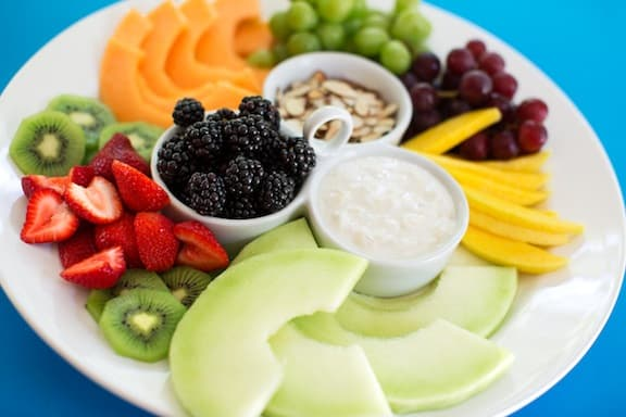 fruit platter with tropical yogurt