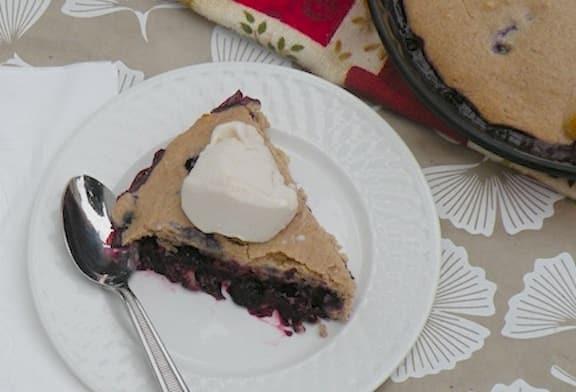 Vegan blueberry cobbler with nondairy ice cream