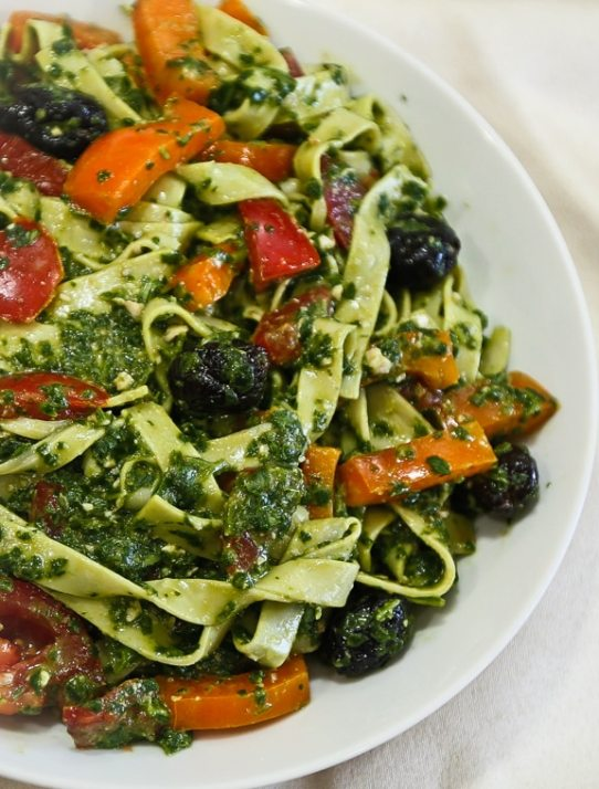 Udon Noodles with Spinach-Miso Pesto