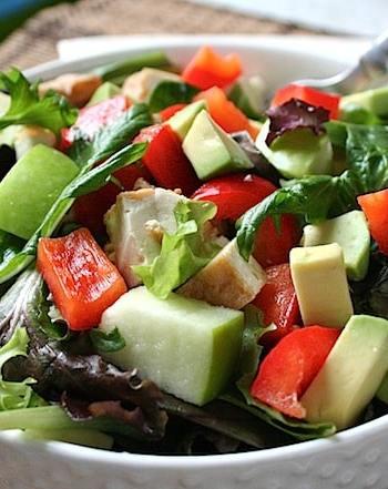 mixed greens, avocado, apple, and tofu salad