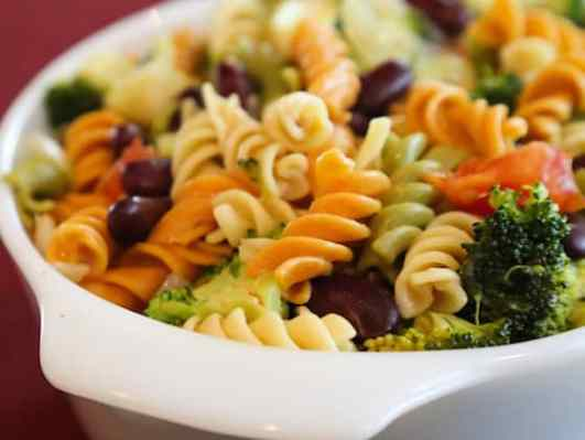 Pasta with red beans and broccoli and miso