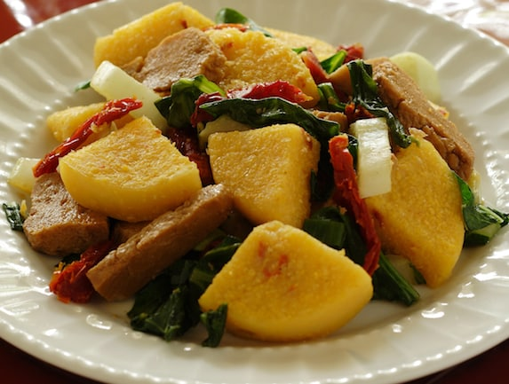 seitan and polenta skillet from vegan express