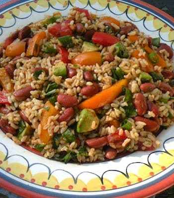 Southwestern-flavored rice and bean salad