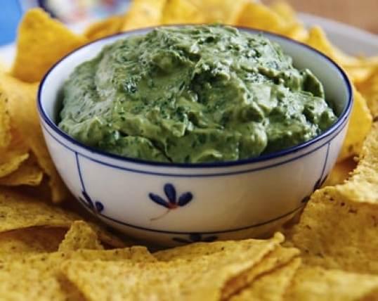 Very green avocado and tahini dip