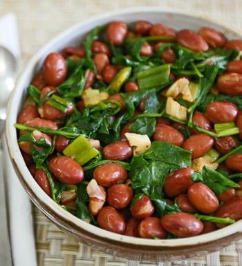 Pink Beans with Spring Greens