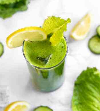 Green lemonade with sprouts and cucumber