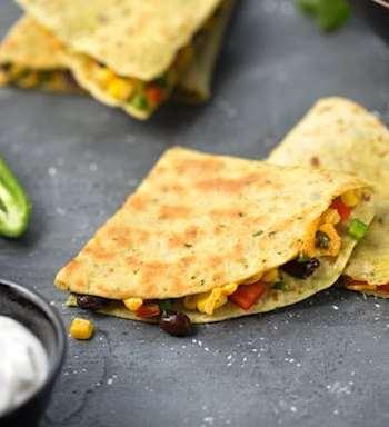 Vegan Bean and corn quesadillas
