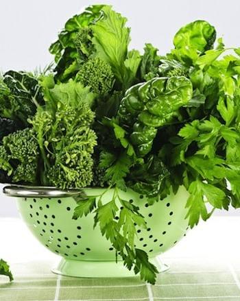 Greens in colander
