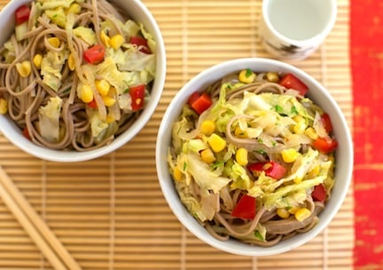 Soba noodles with corn and cabbage
