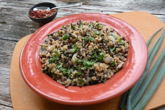 Mujaddarah (lentil and bulgur pilaf)