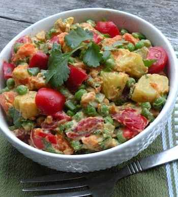 Curried potato tomato salad