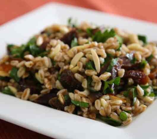 Barley or farro with almonds and apricots recipe