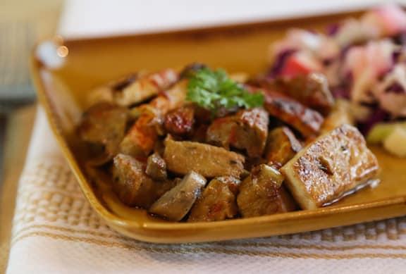 Tofu and seitan with easy mushroom gravy