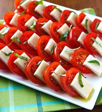 Vegan Caprese Salad (tomatoes, vegan mozzarella, and basil)