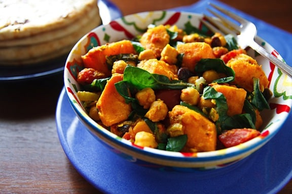 Curried sweet potatoes with chard and chickpeas recipe from Wild About Greens