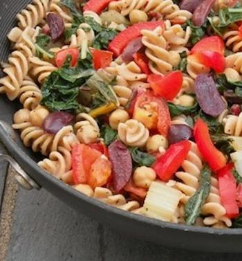 pasta with greens, chickpeas, and olives from Wild About Greens