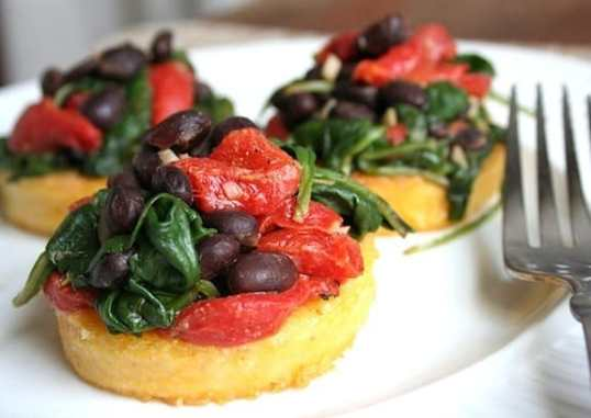 Polenta with Black Beans and Spinach