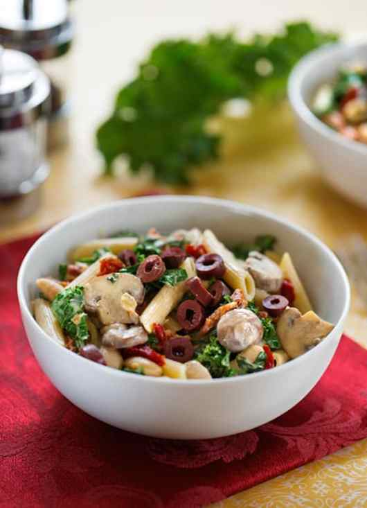 Pasta with Greens and Beans in Creamy Cashew Sauce by Dianne Wenz