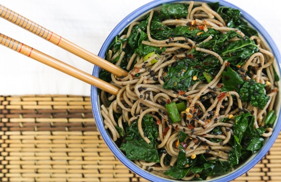 Simple Sesame Soba Noodles with Greens