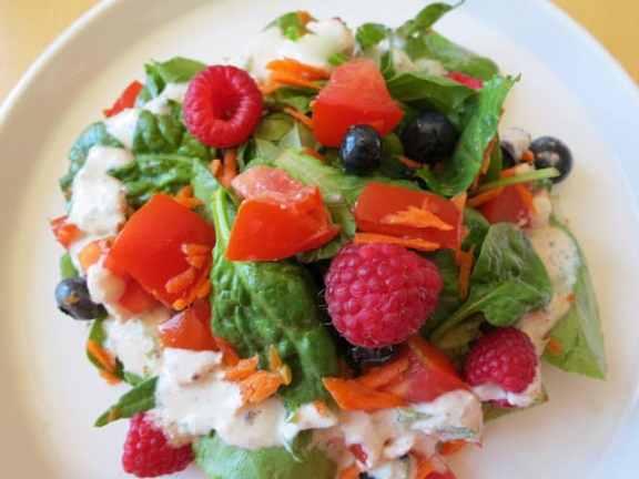 Carrot Berry Salad with Cashew Dressing from Vasanthi Raghavan