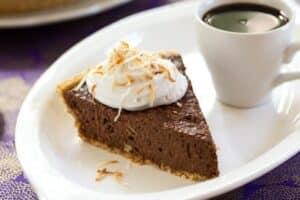 Vegan chocolate, coconut, tofu mousse pie detail