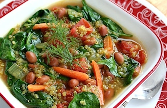 Quinoa, pink bean, and spinach soup