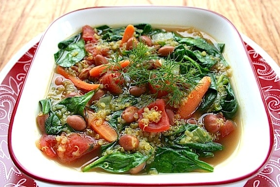 Quinoa, pink bean, and spinach soup recipe
