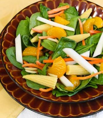 Spinach Baby Corn Salad with oranges