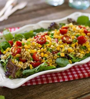 Barley and fresh corn salad