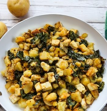 Tofu & Potato hash browns in skillet
