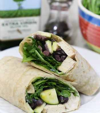 Tofu, arugula, and olive wraps