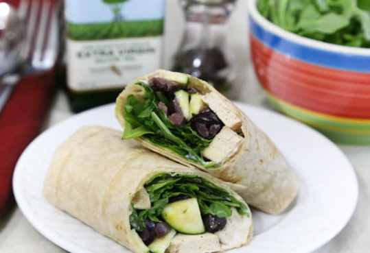 Tofu, arugula, and olive wraps