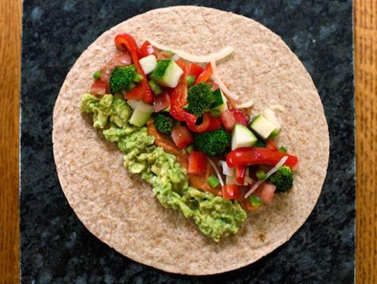 bountiful veggie burritos - how to assemble