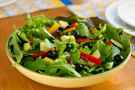 Mixed Greens Salad with Avocado and Blueberries